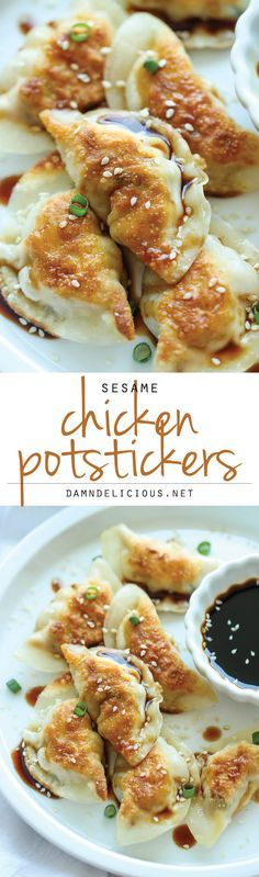 Sesame Chicken Potstickers - from Damn Delicious - Ooh I love a fabulous potsticker and can't wait to try this out sometime! Potstickers are unbelievably easy to make. Best of all, they're freezer-friendly, perfect for those busy weeknights! Think Food, I Love Food, Good Food, Yummy Food, Tapas, Great Recipes, Favorite Recipes, Easy Recipes, Best Recipes For Dinner