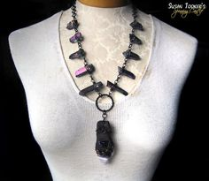 INDIGO RAYS - Ice Age Deer Bone Fossil Chevron Amethyst Amulet with Tanzanie Aura Quartz by Susan Tooker of Spinning Castle.