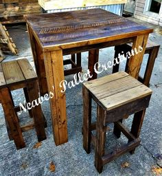 "RECYCLED WOOD PALLET: We have a High Pub Table with stools. The table is 36"" x 36"" x 43"". It has been stained and has 3 coats of exterior poly. The entire set sells for $325. Send us any questions, comments or orders. This would make a great place to sit and watch all those bowl games coming up in January. Item # 1,299"