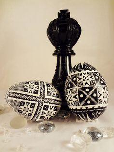 Lenten Pysanky Egg Corner Stars Black and by GoldenEggPysanky