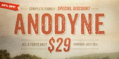 Anodyne is a warm and weathered all-caps font from Yellow Design Studio with hand-printed texture and unique shadow options. Features include four distress variations for each letter and at least two for every other. Typography Fonts, Typography Design, Lettering, Typeface Font, Typography Inspiration, Design Inspiration, Business Brochure, Business Card Logo, Writing
