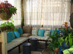 porch benches and curtains