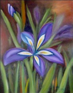 """""""Lirio Azul"""" 47 x 55 cms Óleo sobre tela 2003"""