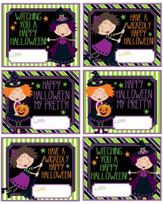 Witch Halloween Gift Tags! Great for Halloween gifts or treat bags These adorable little tags will help you spread the fun this Halloween!