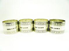 Antique Silver Napkin Rings Sterling Set of 4 by DartSilverLtd