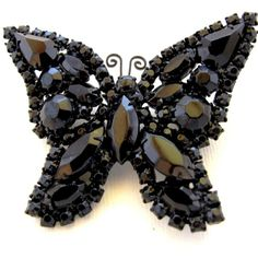 Unsigned Weiss Black Butterfly Pin