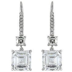 Harry Winston 8.02 Carat Asscher Cut Diamond Platinum Drop Earrings | See more rare vintage Dangle Earrings at http://www.1stdibs.com/jewelry/earrings/dangle-earrings