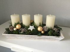 Adventskranz, Adventsgesteck natur NUR 3 Tage Christmas Crafts, Christmas Decorations, Xmas, Christmas Tree, Table Decorations, Diy House Projects, Candle Set, Holidays And Events, Bird Houses