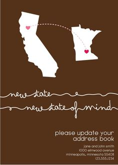 """Check out these """"New State (of mind)"""" - moving announcements from Etsy.com. You can send these cards to let family and friends know where you are located."""