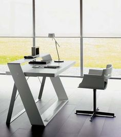 Modern home office furniture decoration ideas modern home office furniture modern minimalist home office with bulego desk MZGKAPW Mesa Home Office, Modern Home Office Desk, Home Office Chairs, Modern Desk, Office Desks, Modern Offices, Stylish Office, Contemporary Home Office Furniture, Office Furniture Design