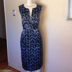 """Donna Ricco Dress Gorgeous midi dress. Black and slate with satiny sheen. This is not satin but polyester so it doesn't wrinkle as much.  Back zipper 43"""" from shoulder to hem measured flat.  In great condition.   Bundle and save!. No Trades.  Offers welcome but no low-ballers please.  Happy Poshing. Please use """"Offer"""" to negotiate. Donna Ricco Dresses"""