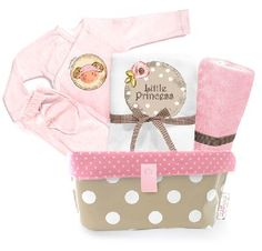 """Designed handy pouch contains useful pampering items for the new baby.    This baby gift set includes:    * Handy pouch (made of pvc).   The case is useful for storing diapers and baby products    * Long sleeved body suit.    * Pair of pants with feet.    * Classic tetra diaper """"The magical princess"""" - 100% cotton muslin.    * Face towel.    The gift comes packed in the pouch ,with ribbons and our beautiful card.    ** This set can not be personalized **  Price: $59"""