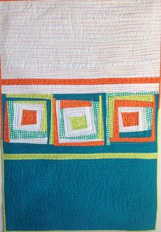 Modern Quilt Wonky Log Cabin Quilt Wall Hanging by StitchesnQuilts