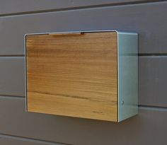 Modern Mailbox | Large Teak and Stainless Steel Wall Mounted mailbox