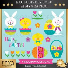 Easter Friends Clipart - This clipart set is perfect for creating your own brag book, record book, scrapbook, stationery, homemade Easter cards, thank you cards, crafts and decorations.