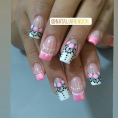 Image may contain: one or more people and closeup Pretty Nail Art, Beautiful Nail Art, Gorgeous Nails, Pink Nail Art, Black Nail Art, Fingernail Designs, Nail Art Designs, Classy Nails, Cute Nails