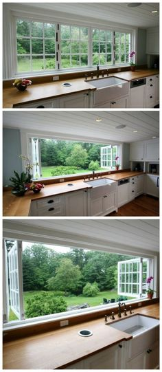 Large Kitchen Window Oh how I love this large, open and unobstructed kitchen window #garden_window_decor