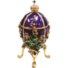 Royal Purple and Green Faberge Style Collectible Enameled Egg