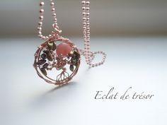 Eclat de tresor - Sautoir Arbre de vie rose gold et pierre opale rose