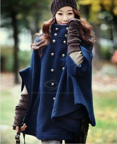 Morden Style Solid Color High Collar Double Breasted Worsted Cloak Coat