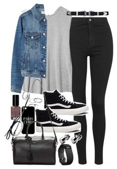"""""""Outfit with black jeans and denim for autumn"""" by ferned ❤ liked on Polyvore featuring Topshop, Boutique, MANGO, Vans, Bobbi Brown Cosmetics, Casetify, Yves Saint Laurent, Fallon and Fitbit"""