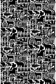 Sanna Annukka | Graphic Pattern | Animals | Black and White