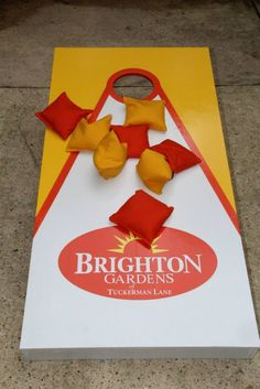 Brighton Gardens of Tuckerman Lane, MD, recently held a picnic where they tried out their brand new, custom corn hole board and bean bags!