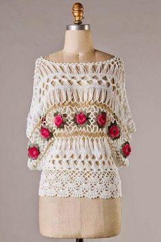 Edna Confecções em Crochê : Blusa crochê de Grampo em duas opções