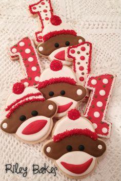 Sock Monkey Cookies - made to order custom decorated sugar cookies!