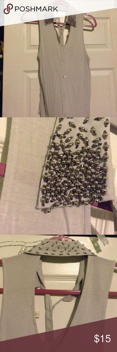 Cutout Embellished Collar Top Silence + Noise • Cutouts in front and back • beaded collar • sleeveless Urban Outfitters Tops
