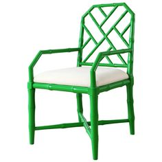 Emerald green lacquer: Linen seat cushion. Also available in white, gray, and navy blue. #bungalow5 #greenwithenvy #shopcandelabra
