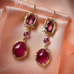 Summer berries. Lemongrass pink tourmaline and diamond earrings by Laurie Kaiser.