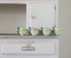 vintage mid century french coffee cups in pastel colours, set of 8 made by Orchies Moulin Des Loups France.