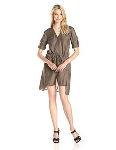 BCBGMAXAZRIA Womens Daya Shirt Dress with Rolled Sleeves Spanish Moss Small ** More info could be found at the image url.