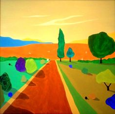 "Saatchi Art Artist Alejos Lorenzo Vergara; Painting, ""At dusk. Pop landscape."" #art"