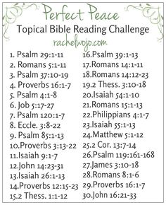 Perfect Peace June Topical Bible Reading Challenge - a 30 day topical Bible reading plan to draw closer to the Author of perfect peace Bible Study Plans, Bible Plan, Bible Study Journal, Bible Reading Plans, Bible Prayers, Bible Scriptures, Bible Quotes, Bible Verse List, Scripture Reading
