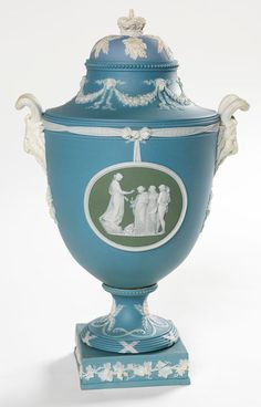 Vase, c. 1906 / Josiah Wedgwood and Sons from a model by Bert Bentley  Blue and white jasper ware with two green and white jasper ware panels / from the Pieces of Wedgwood Display - State Library of NSW. This display comes from the Mitchell Library's realia collection.