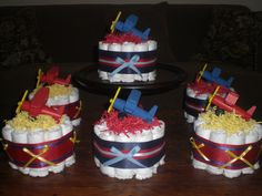 Baby Boy Airplane Shower Centerpiece by bearbottomdiapercakes