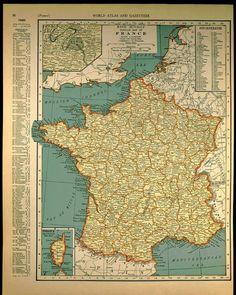 Vintage Map France 1930s Original 1935