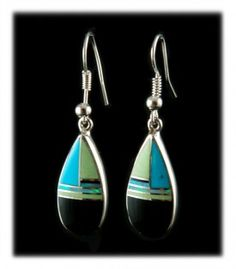 Gaspeite Turquoise and Onyx Inlay Drop Earrings