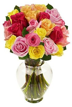 Benchmark Bouquets 2 Dozen Rainbow Roses With Vase ** Check this awesome product by going to the link at the image.