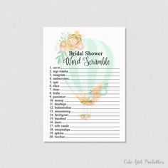Hot Air Balloon Bridal Shower Word Scramble - Word Scramble Printable - Mint Green Printable - Bridal Shower Printable Games - 0003G