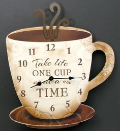 """Wooden Coffee Clock """"Take Life One Cup at a Time""""Measures: Large coffee cup clock. Great décor item for kitchen or coffee area. Measures: 15 x x Coffee Theme Kitchen, Coffee Bars In Kitchen, Coffee Bar Home, Cafe Themed Kitchen, Coffee House Decor, Coffe Bar, Best Coffee, My Coffee, Coffee Cups"""