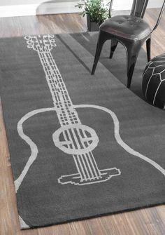 Large Guitar Rug in Gray