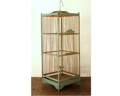 Antique Primitive Painted Birdcage Wood Old by CountryAnthropology