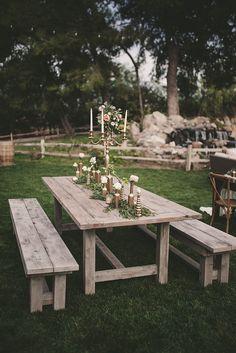 Rustic Outdoor Parties, Outdoor Farmhouse Table, Rustic Farm Table, Outdoor Dining, Farm Tables, Diy Picnic Table, Outdoor Picnic Tables, Picnic Table Wedding, Oak Meadow