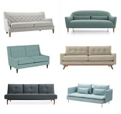 Six Stylish Sofas for Small Spaces — Shopping Guide love this roundup of sofas....the tan color one - style i like best.