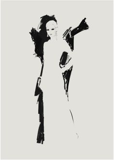 Fashion illustration - elegant evening dress, fashion sketch // Judith van den Hoek