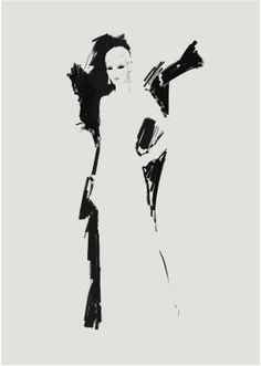 Fashion illustration - elegant evening dress, fashion sketch // Judith van den Hoek