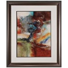 "Rare Earth I 35"" High Framed Abstract Wall Art -"